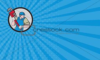 Business card Plumber Running Monkey Wrench Circle Cartoon