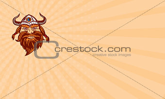 Business card Viking Warrior Head Angry Isolated Retro