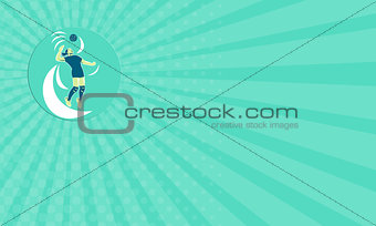 Business card Volleyball Player Spiking High Circle Retro