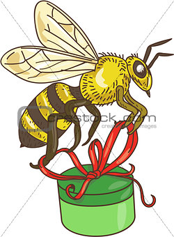 Bee Carrying Gift Box Drawing