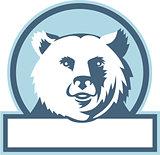California Grizzly Bear Head Smiling Circle Retro