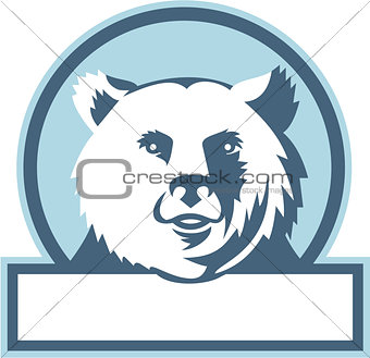 California Grizzly Bear Head Smiling Circle Retro