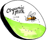 Bee Organic Milk Label Drawing