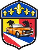 Vintage Cabriolet Fleur-de-Lis Crest Retro