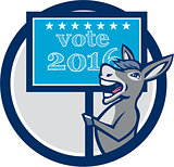 Vote 2016 Democrat Donkey Mascot Circle Cartoon
