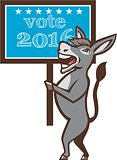 Vote 2016 Democrat Donkey Mascot Cartoon