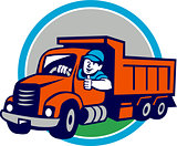 Dump Truck Driver Thumbs Up Circle Cartoon