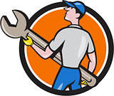 Mechanic Carrying Giant Spanner Circle Cartoon