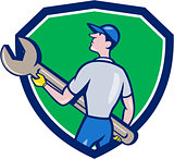 Mechanic Carrying Giant Spanner Crest Cartoon