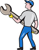 Mechanic Carrying Giant Spanner Cartoon