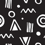 Vector seamless geometric doodle pattern