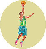 Basketball Player Lay Up Rebounding Ball Low Polygon