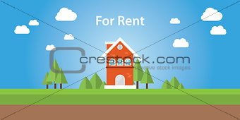 for rent renting house with text