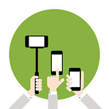 Hands hold smart phones, flat design