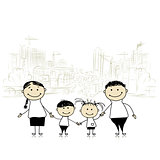 Happy family in the city. Sketch for your design