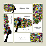 Business cards design, female floral portrait