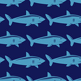 Seamless pattern with shark in water