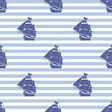 Seamless pattern with ship on striped background