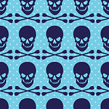Seamless pattern with skull and crossbones on blue dotted background