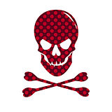 Red skull with dotted texture isolated on white background.