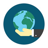 Hand holding globe icon