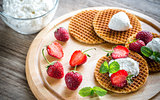 Belgian waffles with ricotta and strawberries