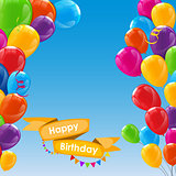 Happy Birthday Card Template with Balloons Vector Illustration