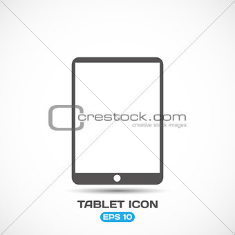 Flat Style Modern Tablet PC  Icon Vector Illustration