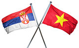 Serbia flag with Vietnam flag, 3D rendering