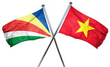 seychelles flag with Vietnam flag, 3D rendering