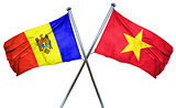 Moldova flag with Vietnam flag, 3D rendering