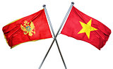 Montenegro flag with Vietnam flag, 3D rendering