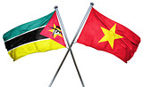 Mozambique flag with Vietnam flag, 3D rendering