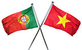 Portugal flag with Vietnam flag, 3D rendering