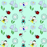 pattern with children, flowers and beetles