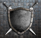 medieval shield with crossed swords 3d illustration