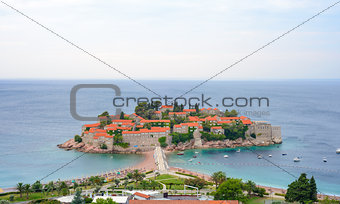 Beautiful Island and Luxury Resort Sveti Stefan, Montenegro. Balkans, Adriatic sea, Europe.