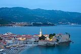 Mistery Evening in Old Town of Budva. Montenegro, Balkans, Europe.