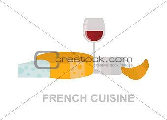 French food vector illustration.