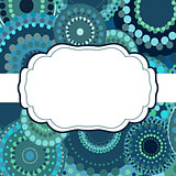 Patterned frame background invitation circular ornament blue