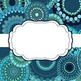 Patterned frame background invitation circular ornament blue
