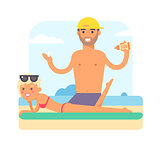Male masseur vector illustration.