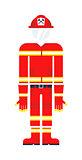 Firefighter costume vector illustration.