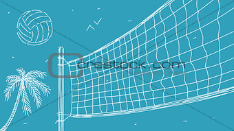 Beach Volleyball Vector Illustration