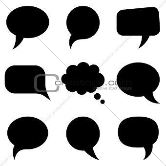 Black speech bubbles collection