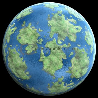 green Planetgreen planet similar to earth 3D illustration