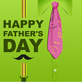 Happy Fathers Day. Template green greeting card