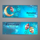 Ramadan Kareem lamps and crescent moon horizontal banners