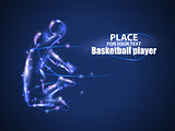 Motion design. Basketball player. Blur and light isolated on black background. Vector illustration