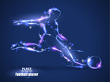 Motion design. Football player, kick a ball. Blur and light. isolated on black background. Vector illustration